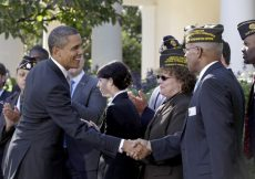 President Obama greets veterans after delivering remarks on tax credits to help get veterans back to work on Nov. 7, 2011, at the White House. (YURI GRIPAS - AFP/GETTY IMAGES)