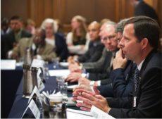 Hinz at Senate Meeting