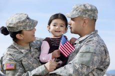 Military couple and child