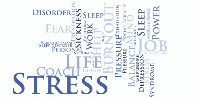 Word picture depicting stress and factors which cause stress
